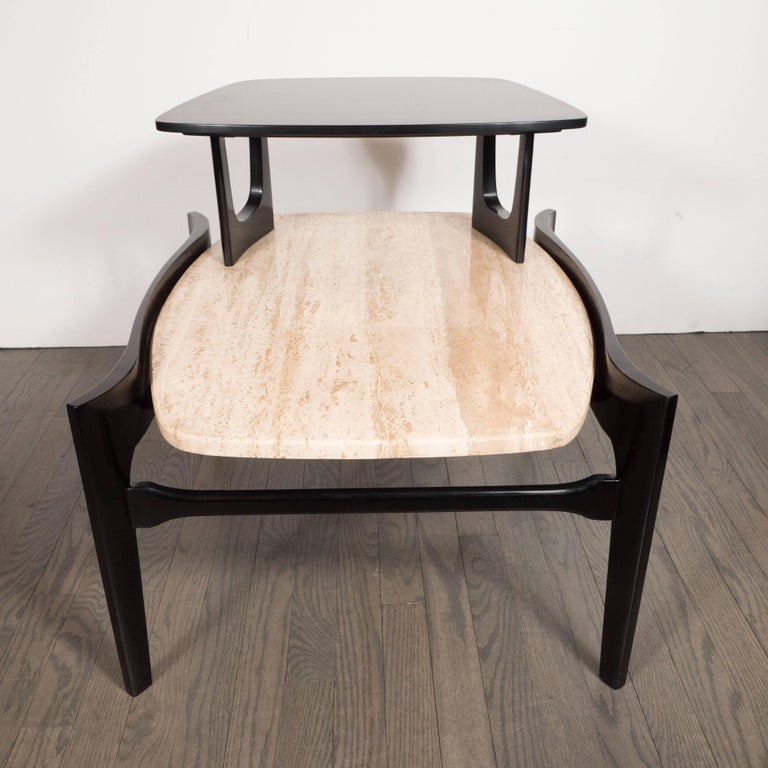 Sculptural Pair of Mid-Century Modern End Tables in Travertine & Ebonized Walnut 3