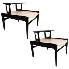 Pair of Mid-Century Travertine & Ebonized End Tables Walnut by Bertha Schaefer