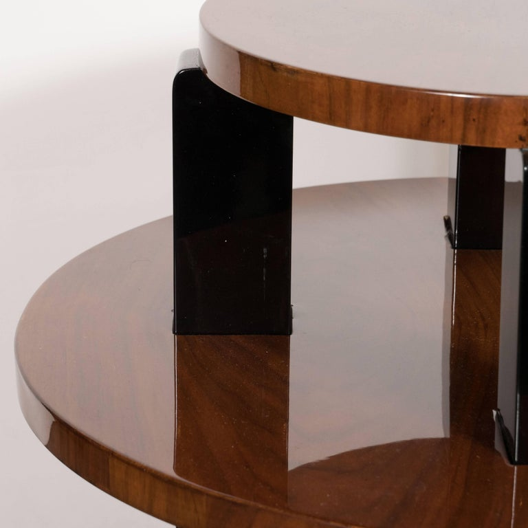 French Art Deco Two-Tier Occasional/Side Table in Walnut and Black Lacquer For Sale 2