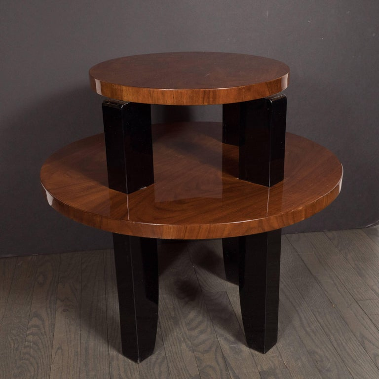 French Art Deco Two-Tier Occasional/Side Table in Walnut and Black Lacquer For Sale 1