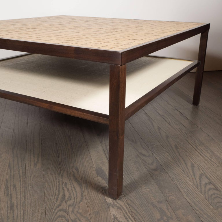 Mid-Century Modern Tile, Lacquered Linen & Walnut Cocktail Table by Gordon Martz For Sale 2