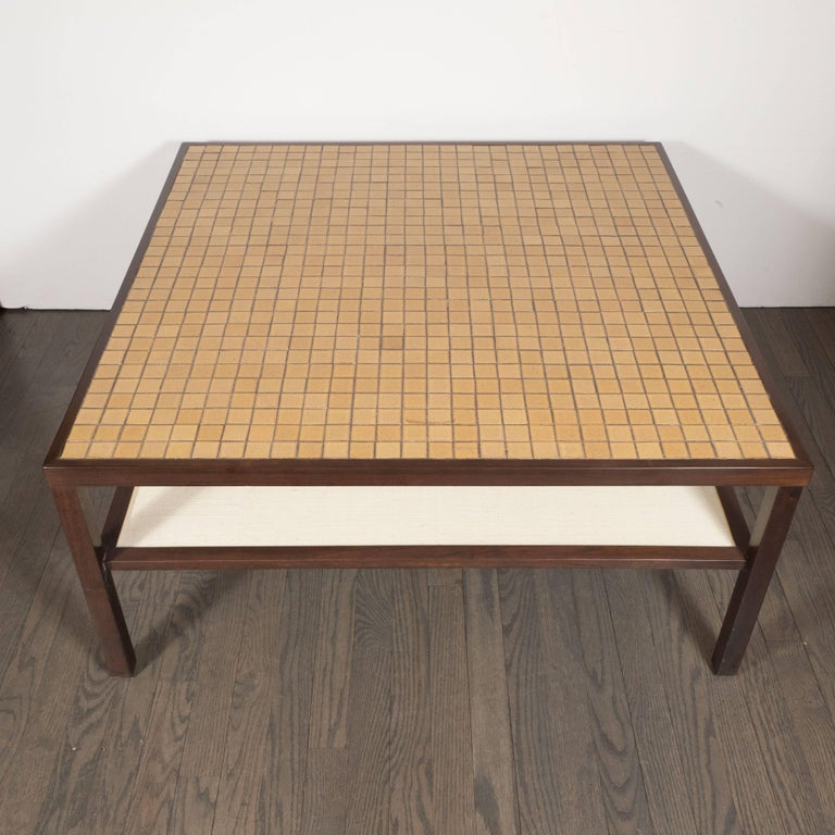 American Mid-Century Modern Tile, Lacquered Linen & Walnut Cocktail Table by Gordon Martz For Sale