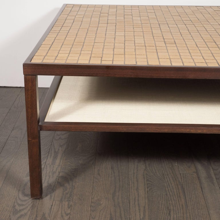 Mid-Century Modern Tile, Lacquered Linen & Walnut Cocktail Table by Gordon Martz For Sale 1