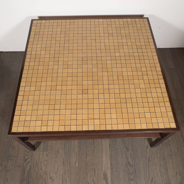 Mid-Century Modern Tile, Lacquered Linen & Walnut Cocktail Table by Gordon Martz In Excellent Condition For Sale In New York, NY