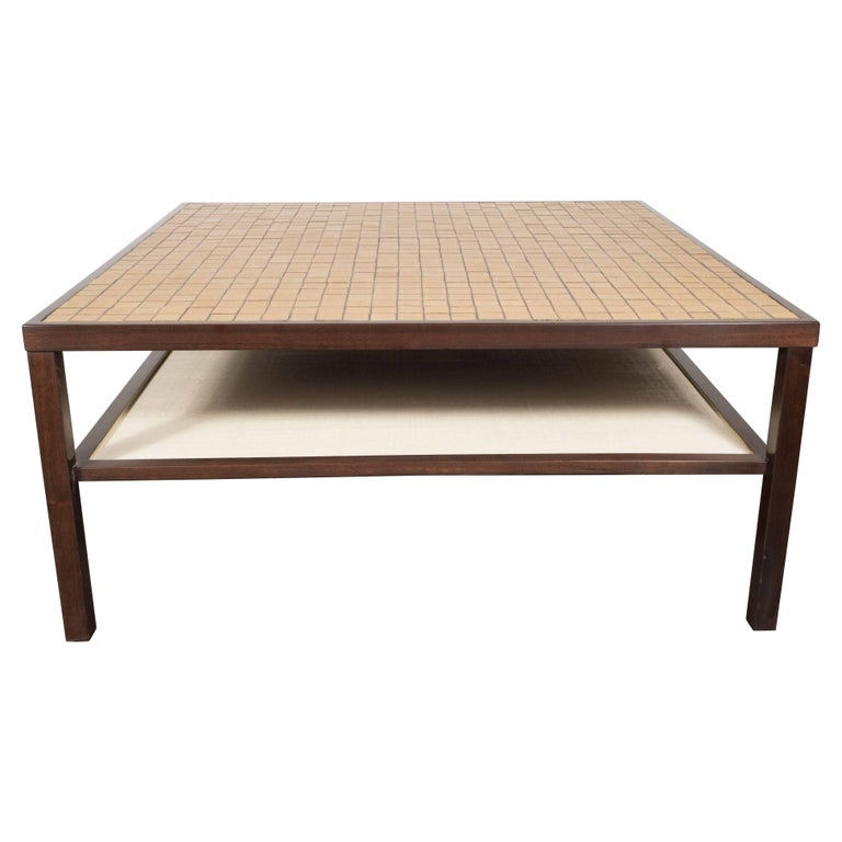 Mid-Century Modern Tile, Lacquered Linen & Walnut Cocktail Table by Gordon Martz