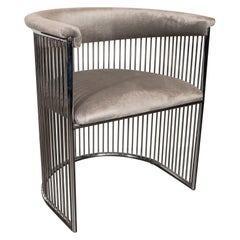 Midcentury Demilune Polished Chrome Occasional Chair in Smoked Platinum Velvet