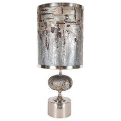 French Mid-Century Modern Handmade Painted Table Lamp with Nickel Fittings