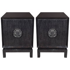 Pair of Midcentury Silver Cerused Walnut End Tables or Nightstand by James Mont