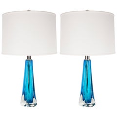 Pair of Modernist Handblown Murano Pale Sapphire & Translucent Glass Table Lamps