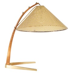 Mid-Century Modern Brass and Walnut Table Lamp with Perforated Enameled Shade