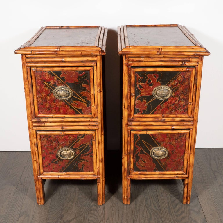 This sophisticated pair of nightstands were realized in the United States, circa 1925. They are a stunning first-rate example of the influence of the East on the design aesthetic of the west. The nightstands feature rectangular bodies with caned