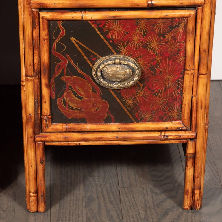Pair of Early Art Deco Hand-Painted Bamboo and Cane Nightstands In Excellent Condition For Sale In New York, NY