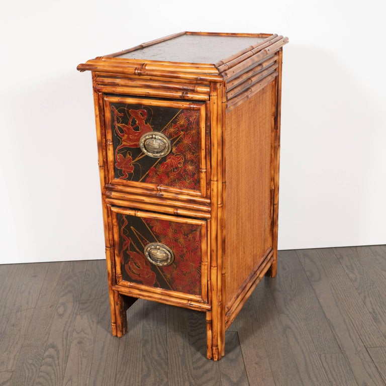 Pair of Early Art Deco Hand-Painted Bamboo and Cane Nightstands For Sale 4