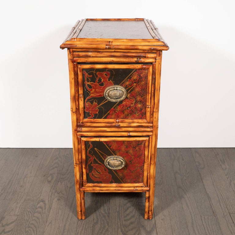 Pair of Early Art Deco Hand-Painted Bamboo and Cane Nightstands For Sale 9