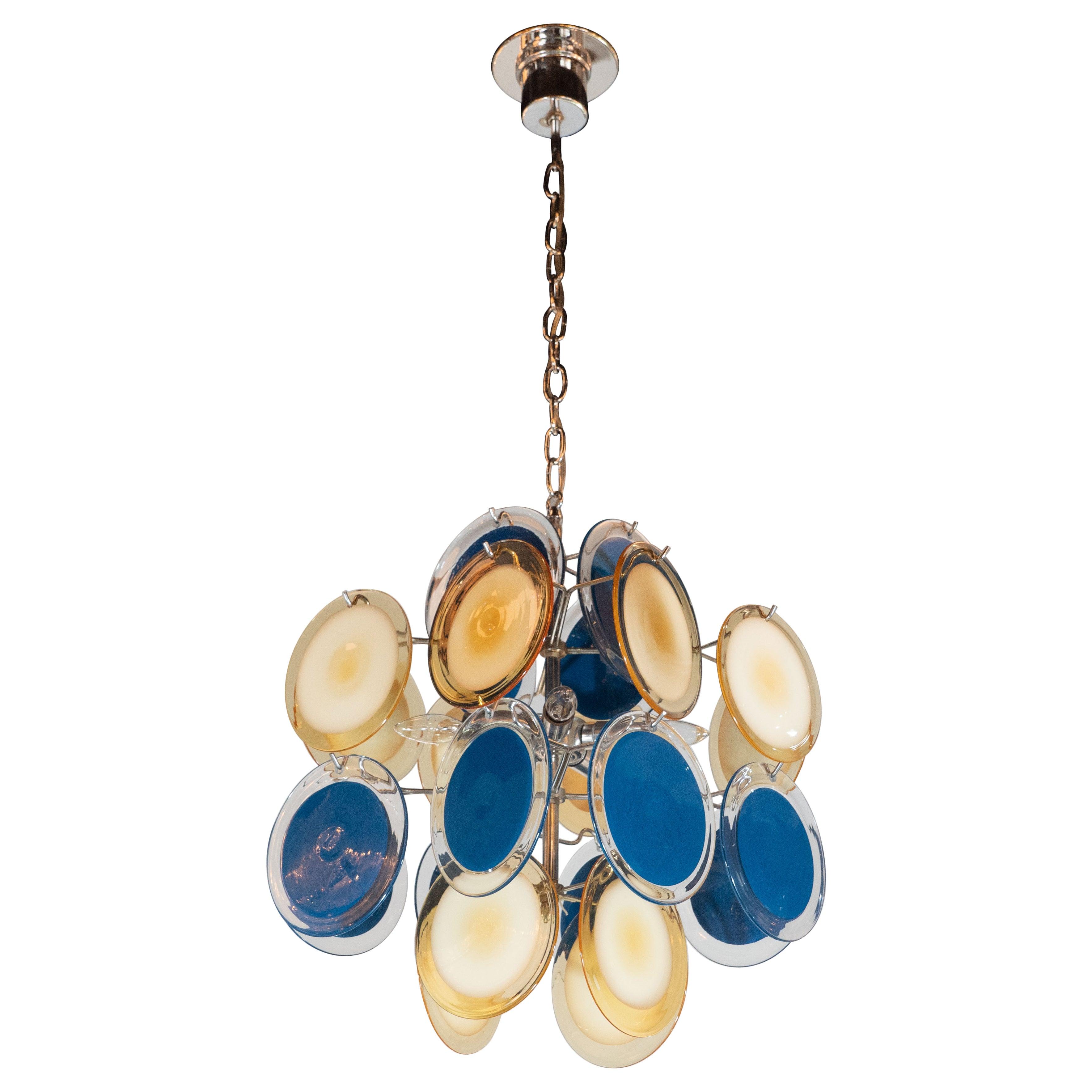 Modernist Chrome Chandelier in Handblown Murano Cerulean & Yellow Vistosi Discs