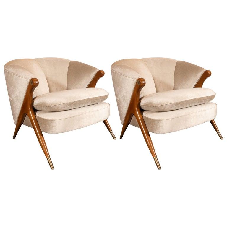 Mid-Century Modern Lounge Chairs in Walnut, Brass and Platinum Velvet by Karpen