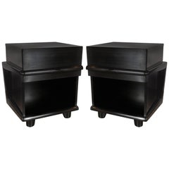 Pair of Sculptural Mid-Century Modern Ebonized Walnut Nightstands/ End Tables