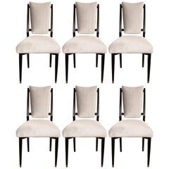 Set of Six Italian Midcentury Dining Chairs in Ebonized Walnut & Platinum Velvet