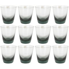 Set of 12 Mid-Century Modern Swedish Smoked Gray Low Ball Glasses by Björkshult