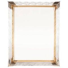 Mid-Century Modern Braided Murano Glass, Chrome & Filigreed Brass Picture Frame