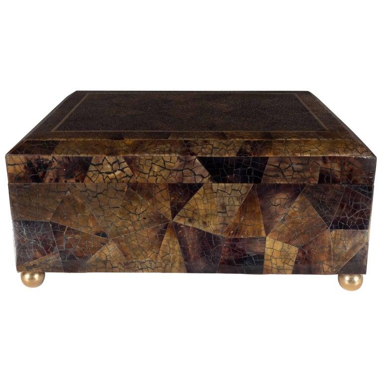 Mid-Century Modern Handmade Brass and Tessellated Shell Box with Walnut Interior