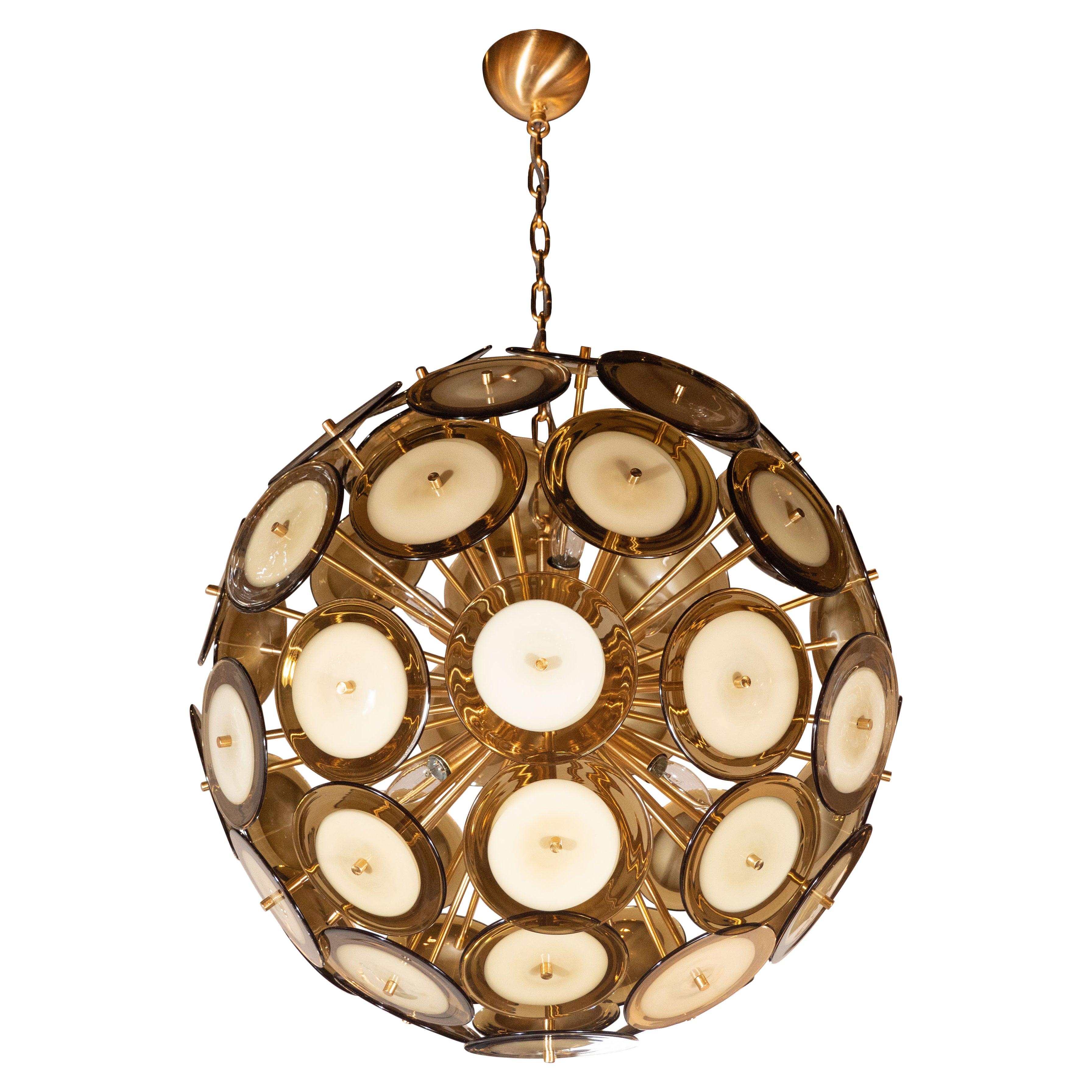 Modernist Polished Brass Vistosi Chandelier with Handblown Murano Topaz Discs