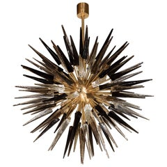 Modernist Starburst Chandelier with Clear, Smoked & Graphite Glass Obelisks