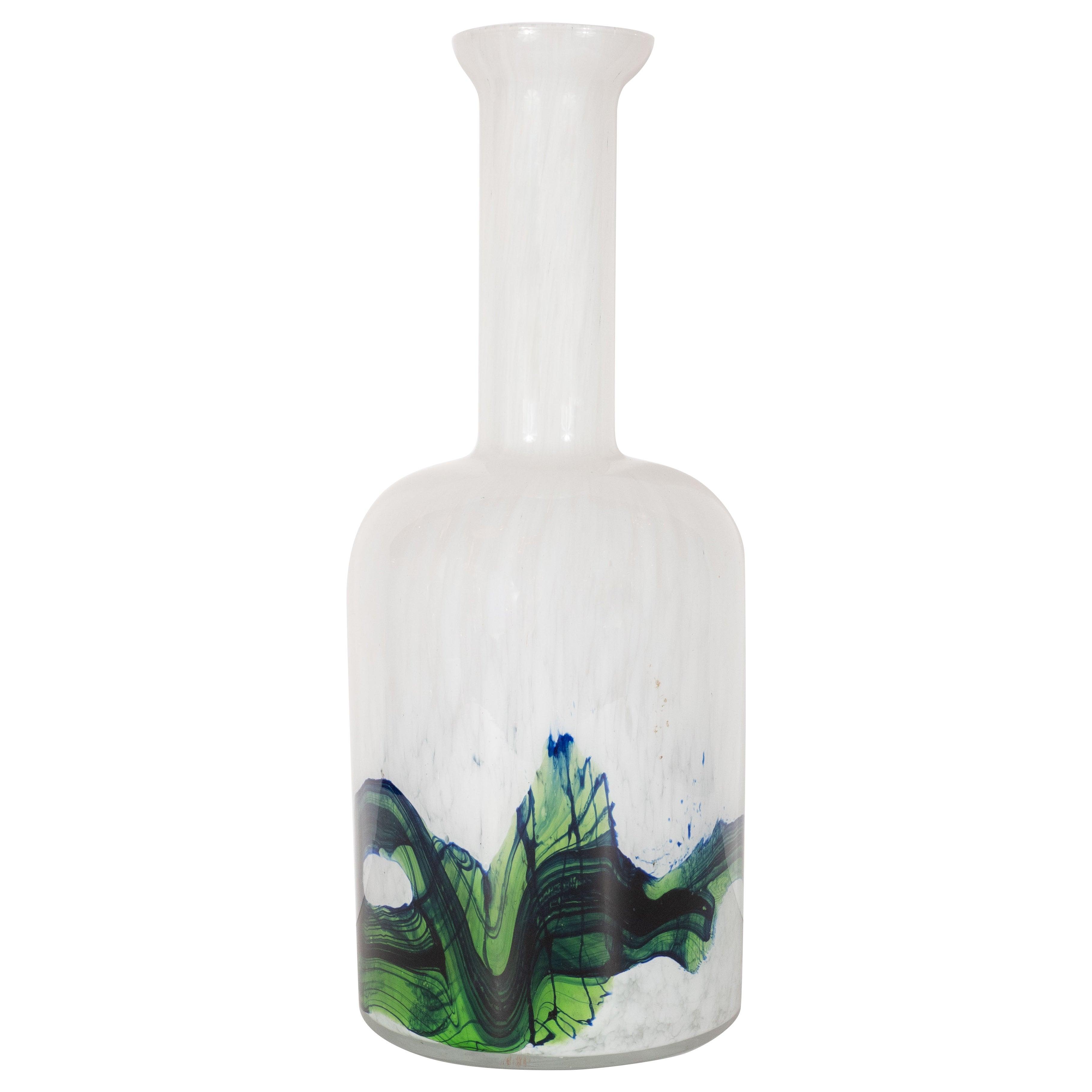 Danish Mid-Century Modern Handblown Glass Vase by Otto Brauer for Holmegaard