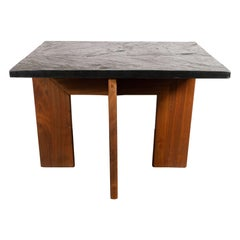 Midcentury Organic Modern Slate and Hand Rubbed Walnut Occasional Table