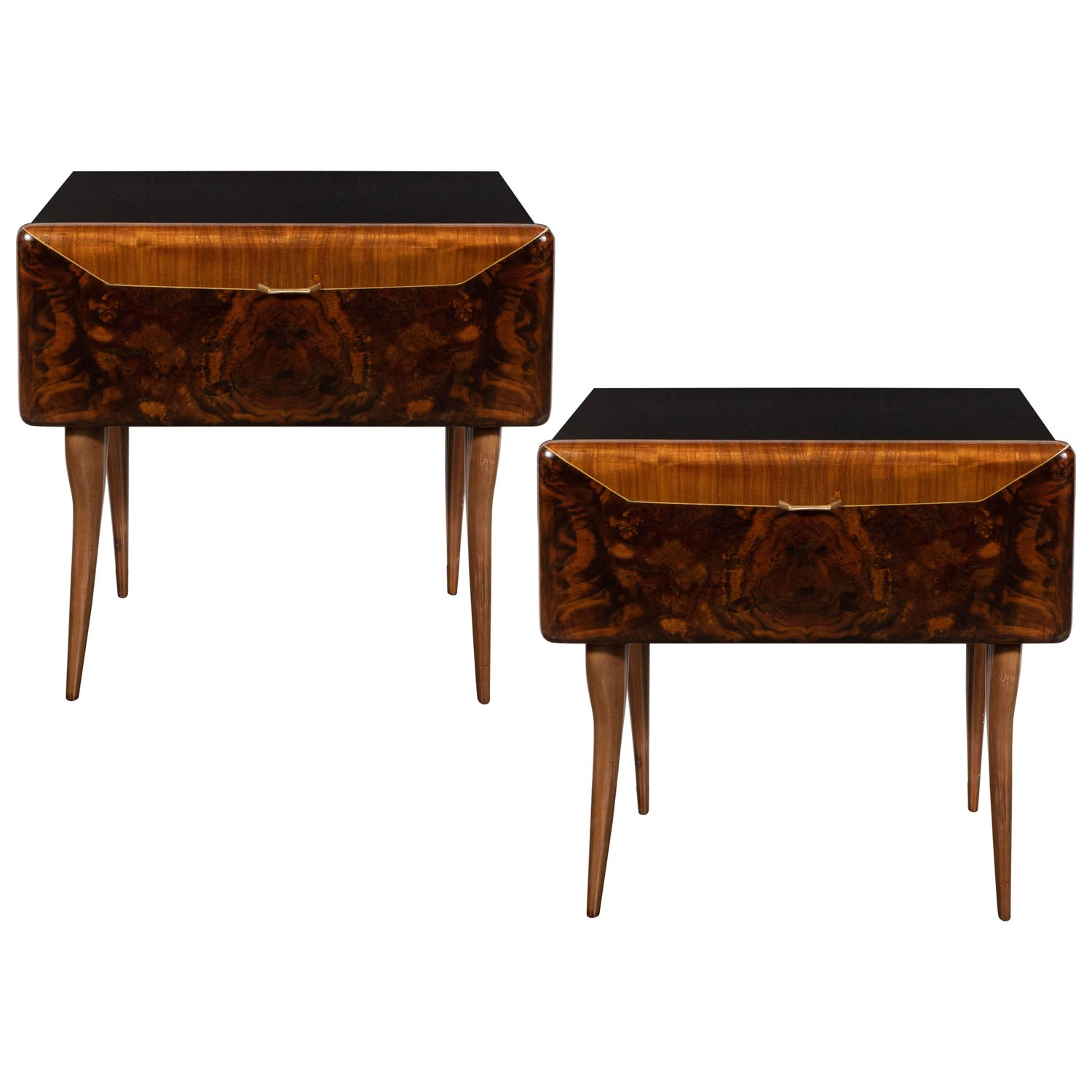 Pair Of Wall Mounted Mahogany Trapezoidal Bedside Tables, Italy, 1950S For