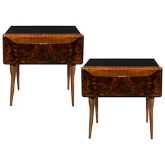 Pair of Midcentury Italian Nightstands/End Tables in Exotic Bookmatched Wood