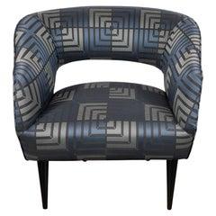 Mid Century Modern Club Chair in Sapphire & Platinum Fabric with Ebonized Walnut