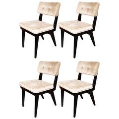 Set of Four Midcentury Game/ Dining Chairs in Ebonized Walnut & Platinum Velvet
