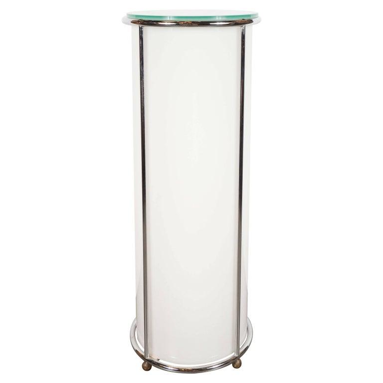 Art Deco Revival Plexi, Chrome and Glass Illuminated Pedestal