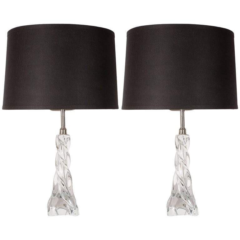 Mid-Century Modern Braided Translucent Glass and Chrome Table Lamps by Baccarat