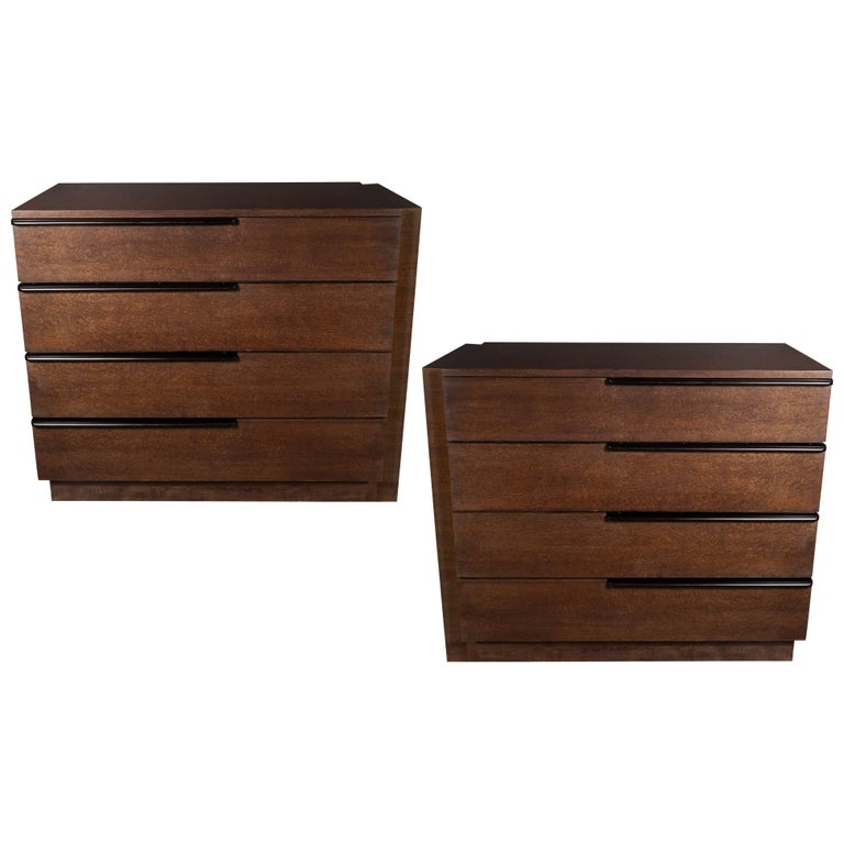 Pair of Art Deco Chests in Bookmatched Burled Acacia with Ebonized Walnut Pulls