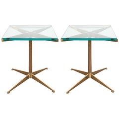 Pair of Italian Mid-Century Modern X-Form Brass and Glass End Tables