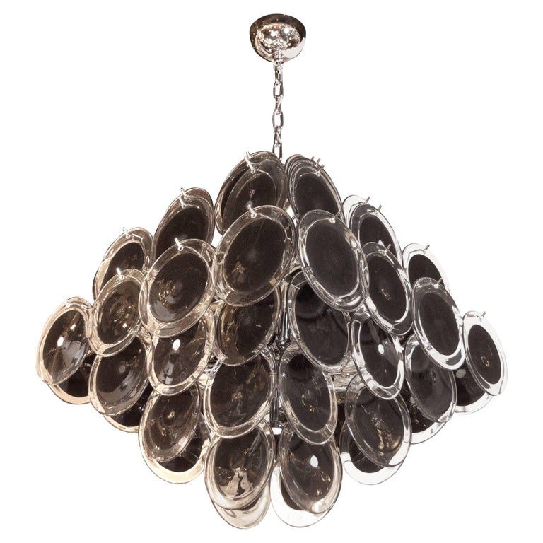 Modernist Polished Nickel & Handblown Murano Black & Clear Glass Disc Chandelier