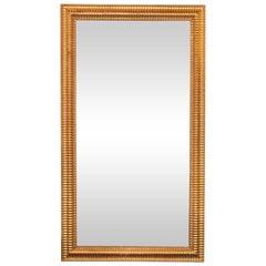 Mid-Century Modern Reeded Mirror Finished in 24-Karat Gilt