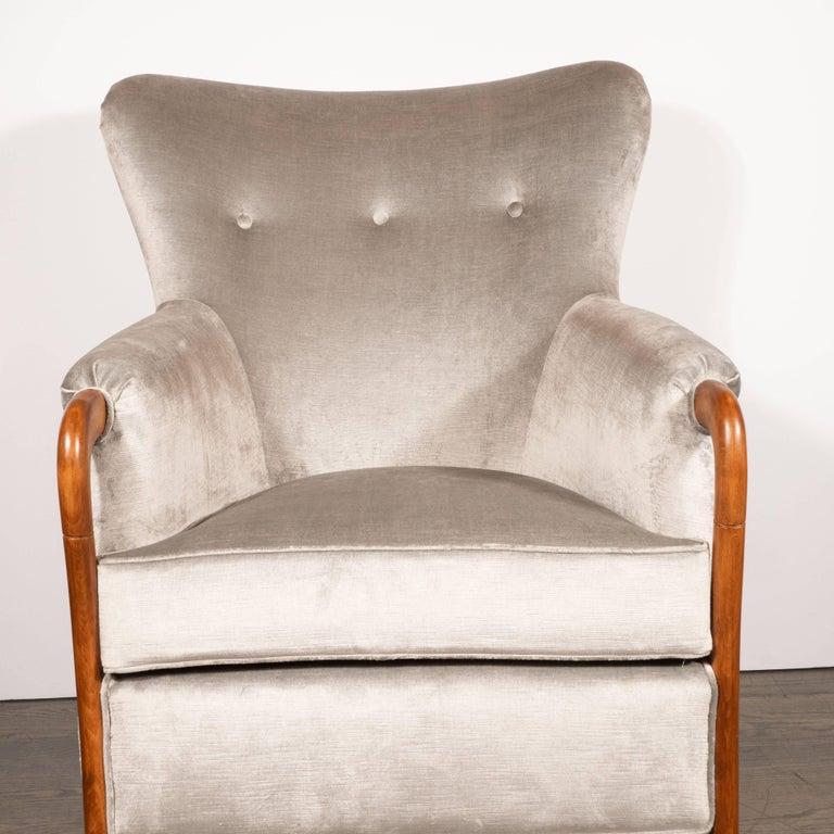 Mid-Century Modern Midcentury Walnut Stained Birch Button Back Chair in Smoked Platinum Velvet For Sale