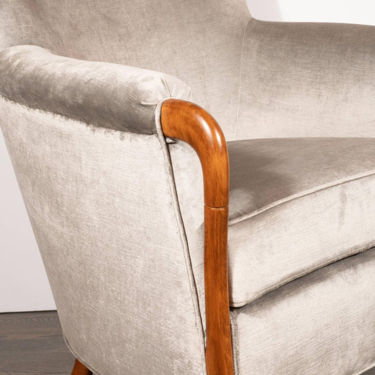 American Midcentury Walnut Stained Birch Button Back Chair in Smoked Platinum Velvet For Sale