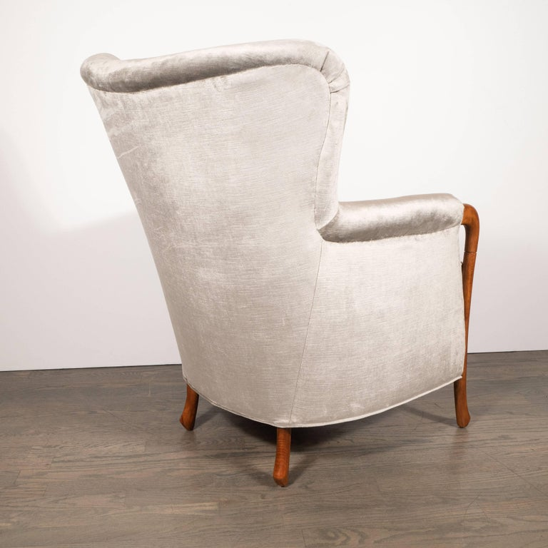 Midcentury Walnut Stained Birch Button Back Chair in Smoked Platinum Velvet For Sale 1