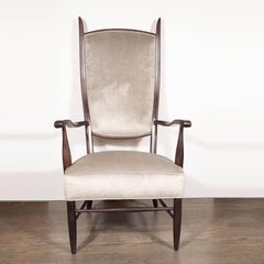 Mid-Century Modern Parsons Chair in Ebonized Birch and Velvet by Maxwell Royal