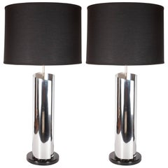 Mid-Century Modern Sculptural Chrome, Black and Cream Enamel Table Lamps