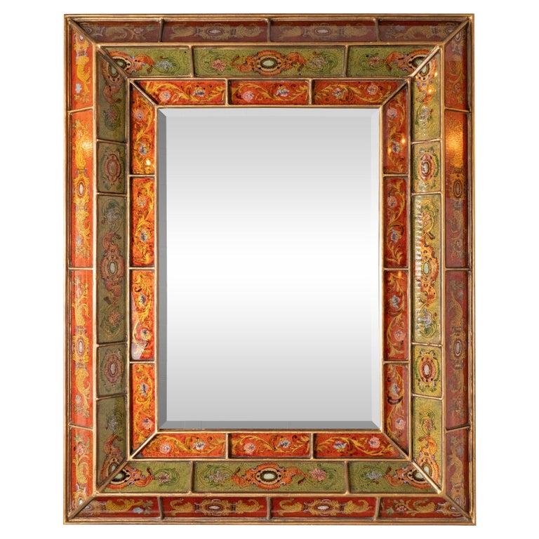 Mid-Century Modern Reverse Églomisé Gilded Venetian Shadowbox Mirror