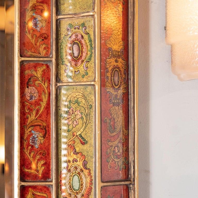 Italian Mid-Century Modern Reverse Églomisé Gilded Venetian Shadowbox Mirror For Sale