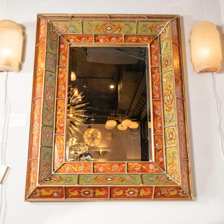 Mid-Century Modern Reverse Églomisé Gilded Venetian Shadowbox Mirror In Excellent Condition For Sale In New York, NY