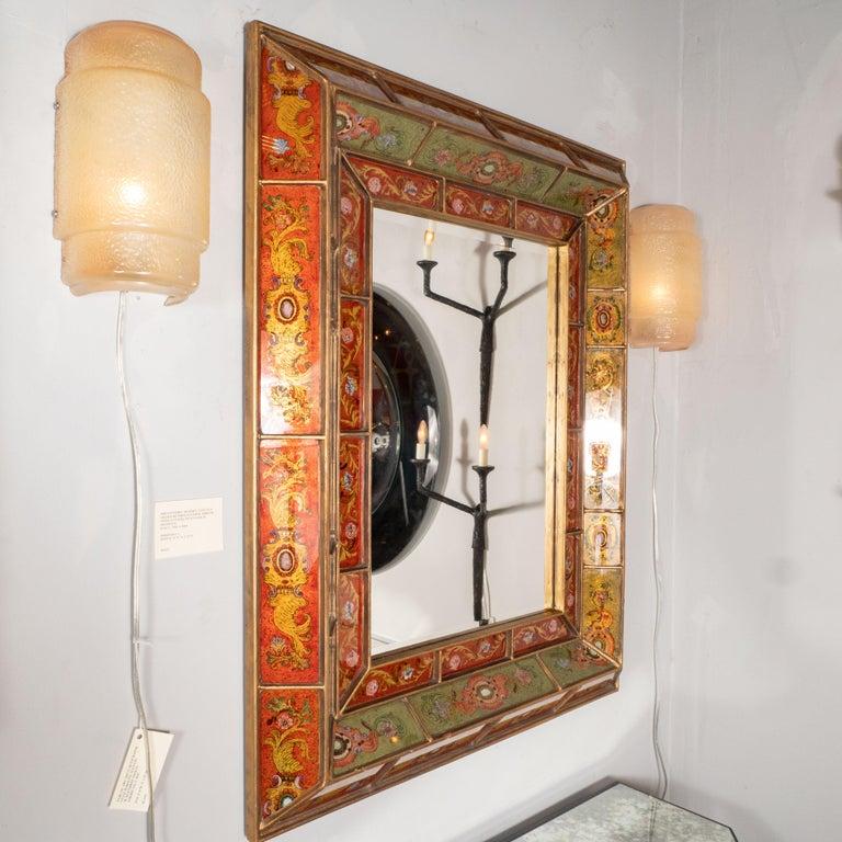 Mid-20th Century Mid-Century Modern Reverse Églomisé Gilded Venetian Shadowbox Mirror For Sale