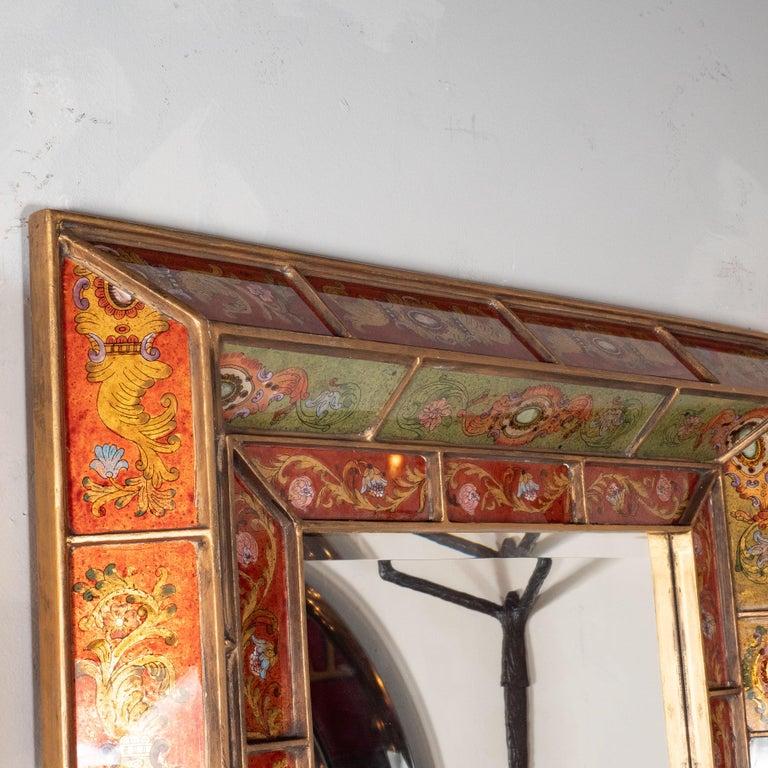 Mid-Century Modern Reverse Églomisé Gilded Venetian Shadowbox Mirror For Sale 1
