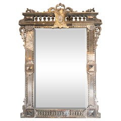 Mid Century Reverse Etched & Beveled Venetian Mirror with Neoclassical Details